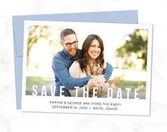 Bold Overlay Save the Date Cards with Envelopes - Printed A7 Save the Dates with Photo, Minimal Typography, Custom Color Envelope