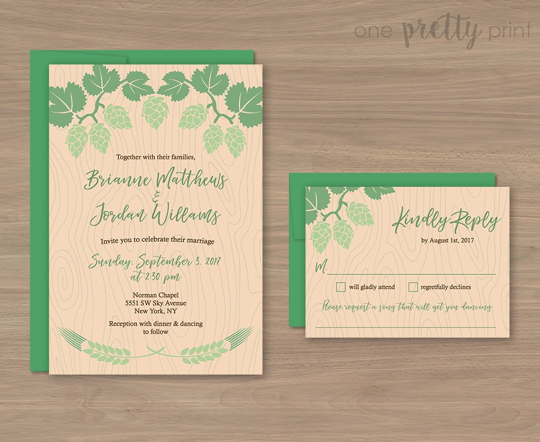 What Should Be Included In Wedding Invitation: Beer/Hops Theme Wedding Invitation Set Envelopes Included
