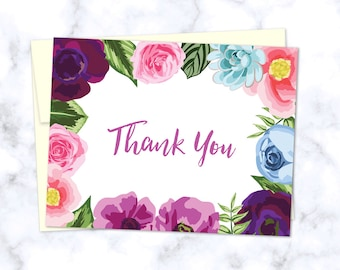 Floral Thank You Card. Folded A2 Greeting Card. White or Cream Envelope Included! Single Card or Boxed Sets!