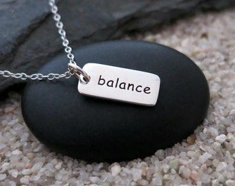Balance Necklace, Sterling Silver Balance Charm, Inspiration Jewelry