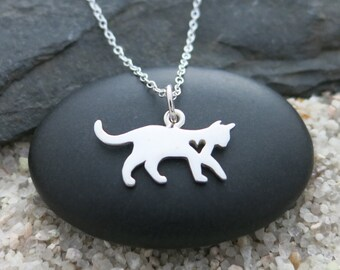 Cat Necklace, Sterling Silver Cat Charm, Pet Jewelry, Animal Lover Necklace