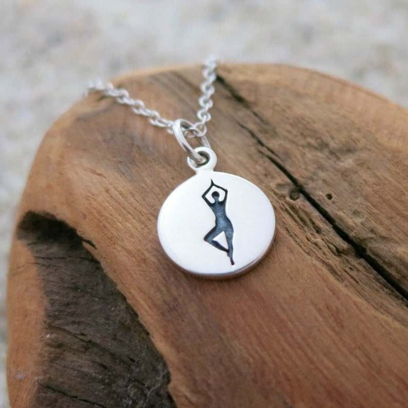 Tree Yoga Pose Necklace Yoga Jewelry Yoga Necklace Sterling Silver Yoga Charm