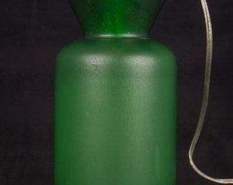 Clean Lines and  Green in more then color. Repurposed Hanging Lamp