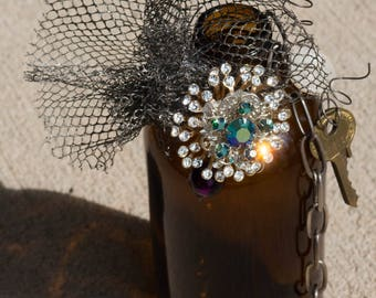 Brown Bottle Chotchkie with Costume Jewelry, Keys and Chain