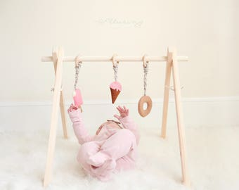 Hanging Baby Gym Toys. Free Shipping, Set of 3 Plush/Felt popsicle, Cone, and Donut.