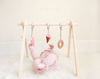 Wooden Baby Play Gym, Ships Fast, Foldable, Eco-friendly, Easy Storage, Hanging Toys NOT included