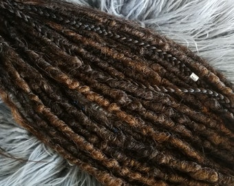 shades of browns synthetic dreads, crochet naturals