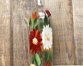 Hand painted Gerber Daisy Olive Oil, Dish Soap Dispenser Bottle for Kitchen