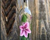 Hand painted Star Gazer Lily Olive Oil, Dish Soap Dispenser Bottle for Kitchen