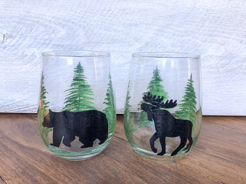 Hand painted Bear STEMLESS Wine glassestumblers Teacher/'s gifts Birthdays Great for Father\u2019s Day