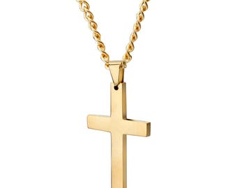 Mens gold cross necklace etsy mens 14k gold highly polished stainless steel cross pendant and curb cuban link chain necklace set aloadofball Images