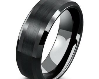 Men's 8mm Black Tungsten Ring with Polished Beveled Edges, Black Wedding Engagement Band, Men's Wedding Ring, Sizes 7 to 15