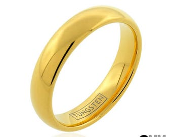 18kt Gold Tungsten Ring, Tungsten Wedding Band, Men's Ring, Women's Ring, 6mm Tungsten Ring, Sizes 5-15 (w/ half sizes!), Gold Wedding Ring