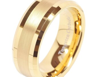 Men's 8mm 14K Gold Tungsten Ring with Polished Beveled Edges, Gold Wedding Engagement Band, Men's Wedding Ring, Sizes 7 to 15