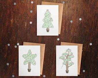 Christmas Cards – Christmas Trees – Set of 3