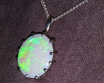 Vintage White Precious Opal and Sterling Silver Pendant
