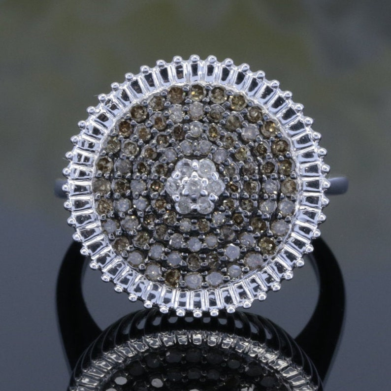 fancy colour diamond ringBrown diamonds natural diamond ring 925 SIL14K18K diamond ring 0.74Ct anniversary ring for her