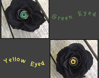 Rose-Eye, creepy flower clip, Halloween accessory