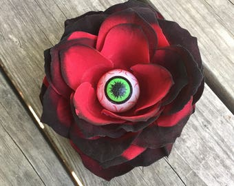 Rose-Eye, gothic flower clip, Halloween accessory