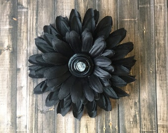 Black Noir, flower hair clip, accessory