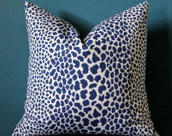 Navy Cheetah Pillow Cover - Navy Tan Pillow Cover - Leopard Print Pillow - Animal Print Pillow - Blue Leopard Pillow - Animal Print Decor