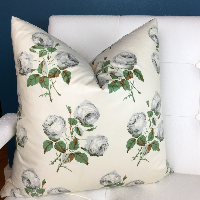 Bowood Pillow Cover  Floral Pillow Cover  Green Grey Pillow image 1