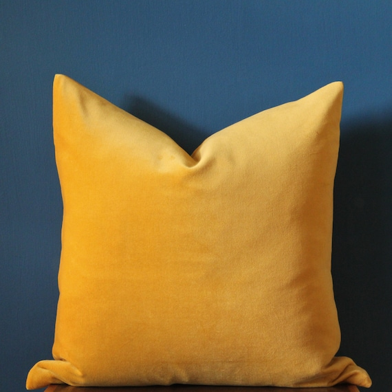 Yellow Velvet Pillow Cover Mustard