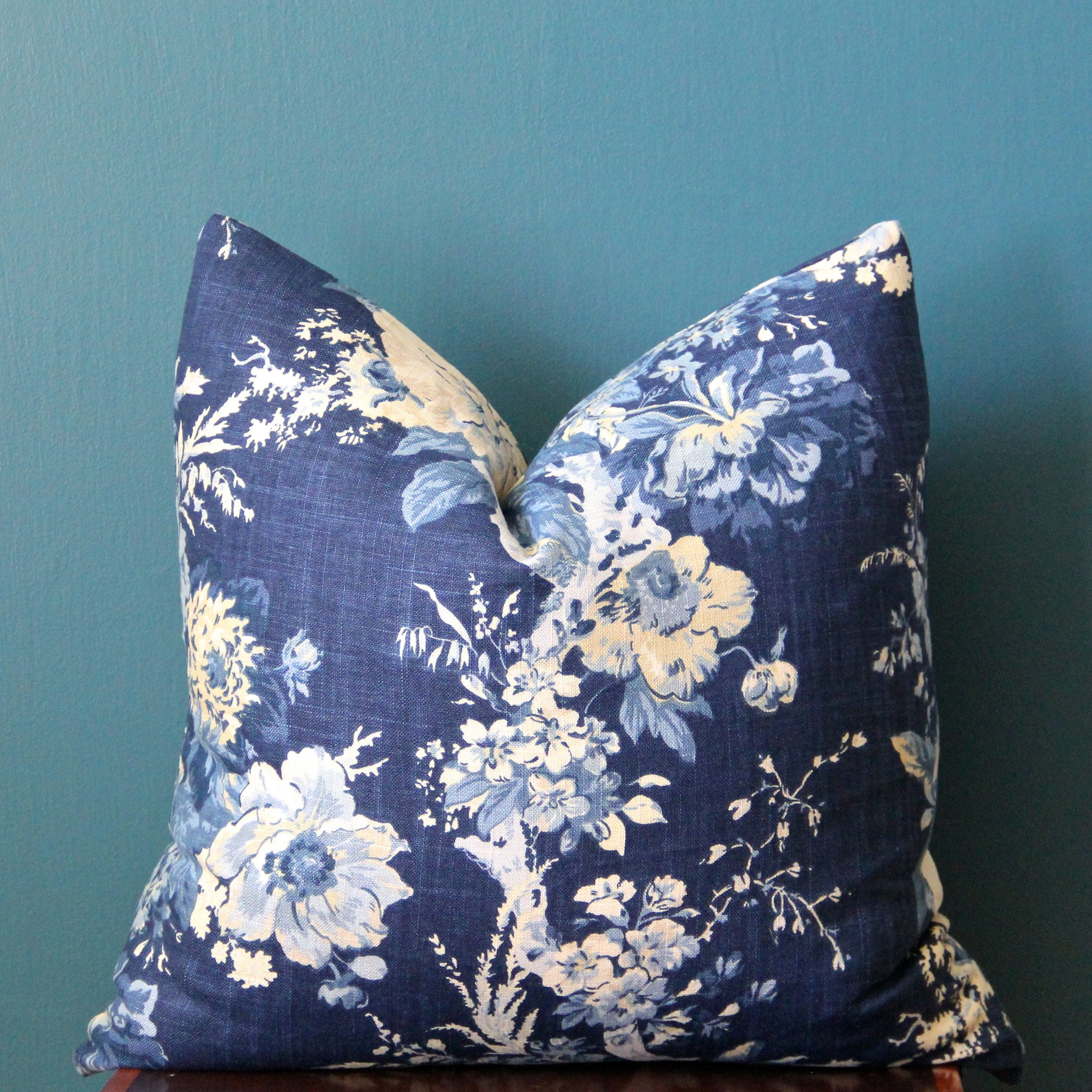 Blue Floral Pillow Cover Blue Chinoiserie Pillow Cover Etsy