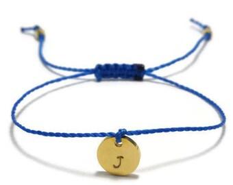 Gold Initial Bracelet, Friendship Thread Bracelet, Personalized Jewelry, Monogram Bracelet, Stamped Bracelet, Custom Engraved Bracelet
