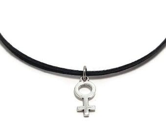 dba478657202bc Female Symbol Choker Necklace, Venus Choker Necklace, Female Gender Choker,  Female Venus Choker, Feminist Choker, Female Sign, Venus Symbol