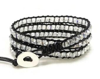 Wrap Bracelet, Beaded Wrap Bracelet, Leather Wrap Bracelet, Leather Bracelet, Crystal Beaded Wrap Bracelet, Bohemian, Gift Her, Gift Idea