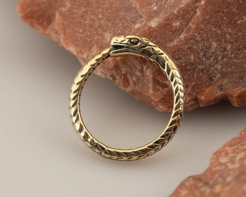 Ouroboros ring  handmade brass wedding band  engagement ring image 0