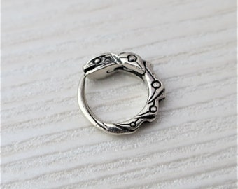 small ouroboros earring sterling silver - hoop earring - for men - single earring - ouroboros 10 mm