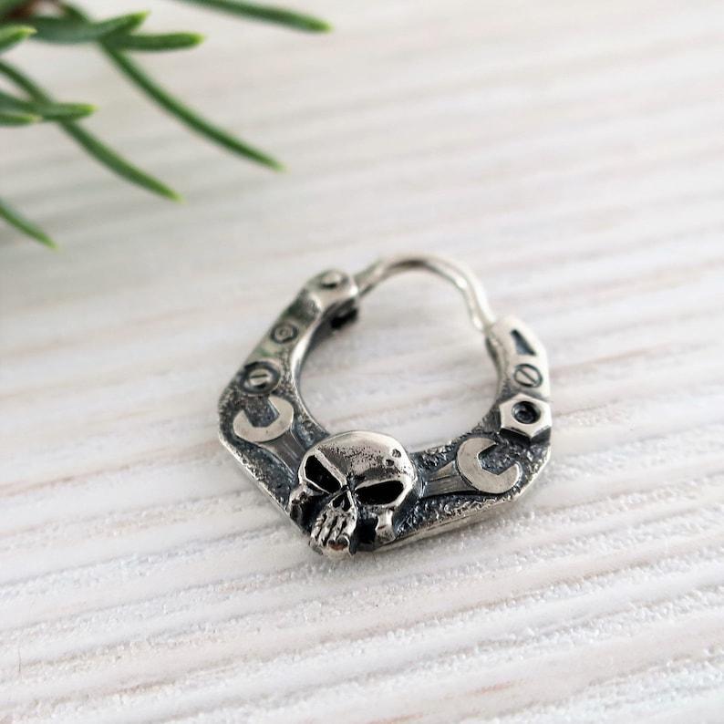 mens earrings sterling silver skull earrings men huggie Silver