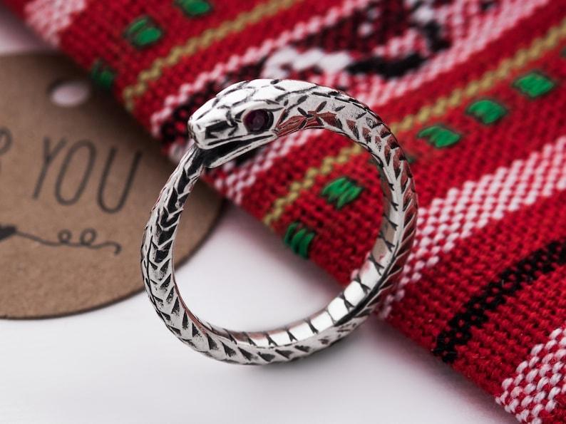 Ouroboros ring sterling silver natural gem insertion.  Snake image 0
