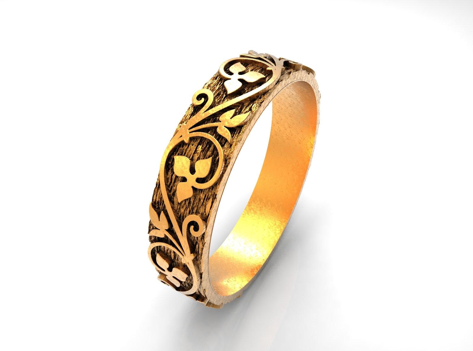 Wedding band leaves floral design thin wedding ring STL file direct download