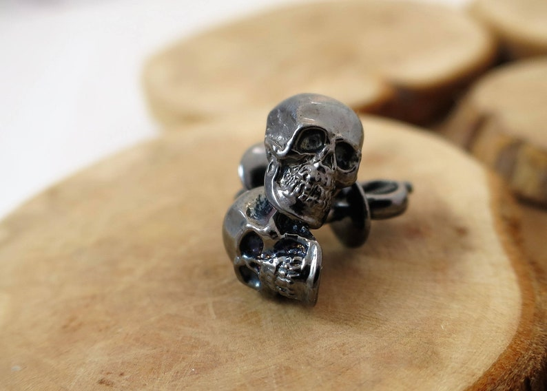 Skull earrings sterling silver black rhodium plated  image 0