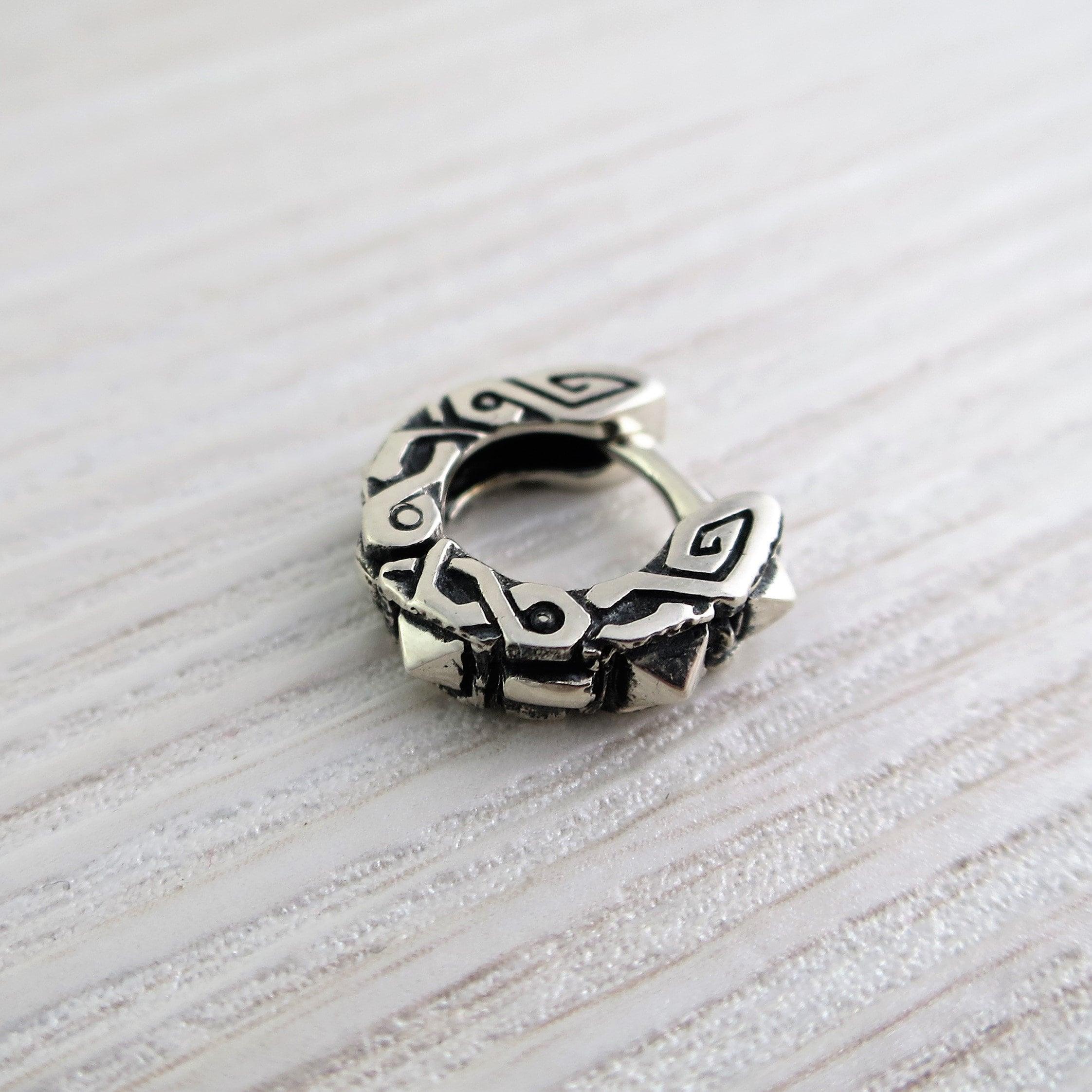EK054s Thick hoop earrings huggie for men SHIPPING FROM USA Mens earrings spikes sterling silver