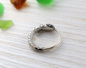 Ouroboros earring 12 mm white sterling silver for men for woman hoop earrings small hoop earrings ouroboros