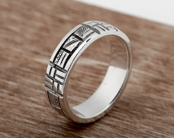 Ancient Calendar Ethnic ring sterling silver wedding band. Viking wedding band rustic jewelry