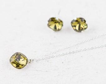 SALE Silver Necklace Set, Khaki Green Swarovski Necklace & Earring Set, Silver Jewelry, Swarovski Crystal Jewelry Set, Gift For Her