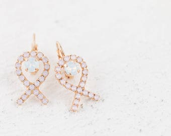 SALE Rose Gold Breast Cancer Awareness Pink Opal Ribbon Earrings