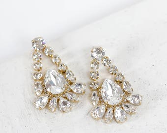 SALE Swarovski Crystal Gold Chandelier Earrings, Bridal Earrings, Crystal Earring, Bridesmaid Jewelry, Prom Jewelry, Special Occasion