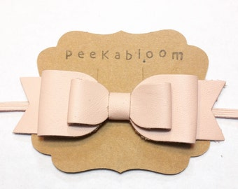 Oversized Leather Bow- Pink Leather Bow- Double Bow- Leather Bow Headband- Peekabloom