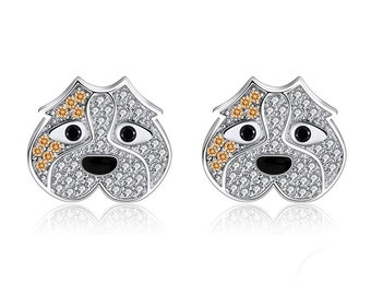 95cb92a1c Pitty The Pit Bull Dog Sterling Silver CZ Stud Earrings Ginger Lyne  Collection