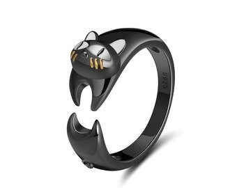 b6fa05880 Ginger Lyne Collection Ginny Cat Kitty Wrap Black Over 925 Sterling Silver  Ring
