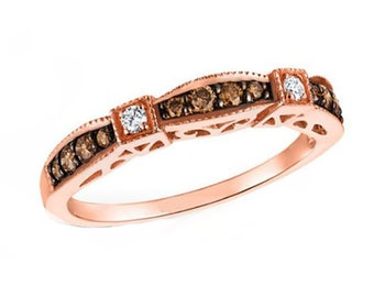7 Size 5 Diamond Band 10K Rose Gold Chocolate Brown Diamond Ring Anniversary or Wedding Band 6 8 Stacking Ring Engagement