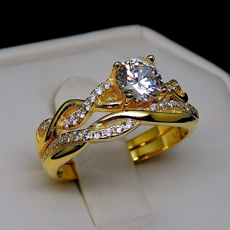 Ginger Lyne Collection Queena 14KT Gold over Sterling Engagement and Wedding Band Ring Set