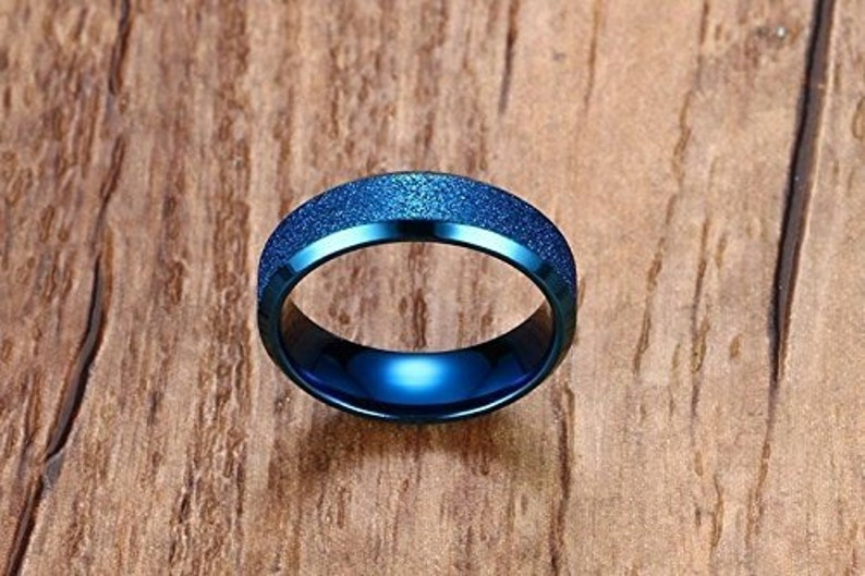 Ginger Lyne Collection 6mm Blue Titanium Steel Comfort Fit Wedding Band Ring