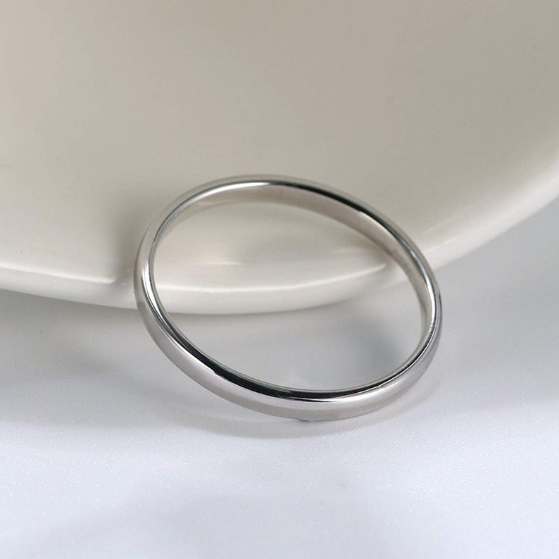 Ginger Lyne Collection Plain 2mm Solid Sterling Silver Wedding Bridal Band Ring